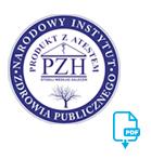 okrągła, granatowo-biała ikona z logiem Insytutu PZH